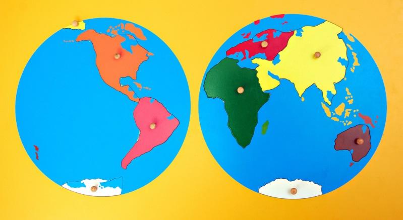 Die Geografie Im Rahmen der Geografie-Materialien wird ein Gefühl für den Globus geweckt sowie für den Aufbau der Erde. Das Weltkarten-Puzzle sowie die Puzzle für die einzelnen Kontinente sind dabei eine sehr gute Wahl. Mit Hilfe der Puzzlekarten lässt sich der Aufbau der Länder bis in das Detail aufzeigen. (#04)