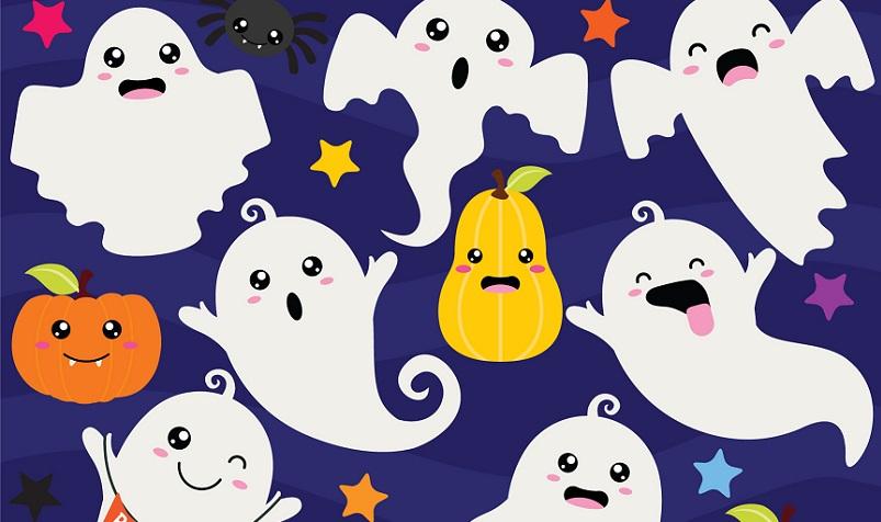 Auf die Augäpfel folgen die Geister. Beim Geister-Rennen werden zwei Papp- oder Plastikteller und zwei weiße Luftballons benötigt. (#02)